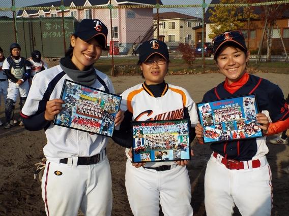 女子軟式野球を卒業する3人の為の、送別試合!
